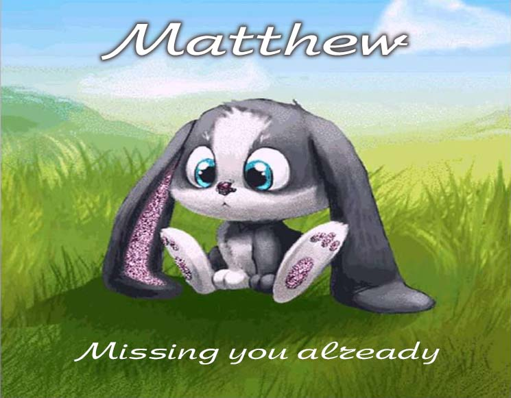 Cards Matthew I am missing you every hour, every minute