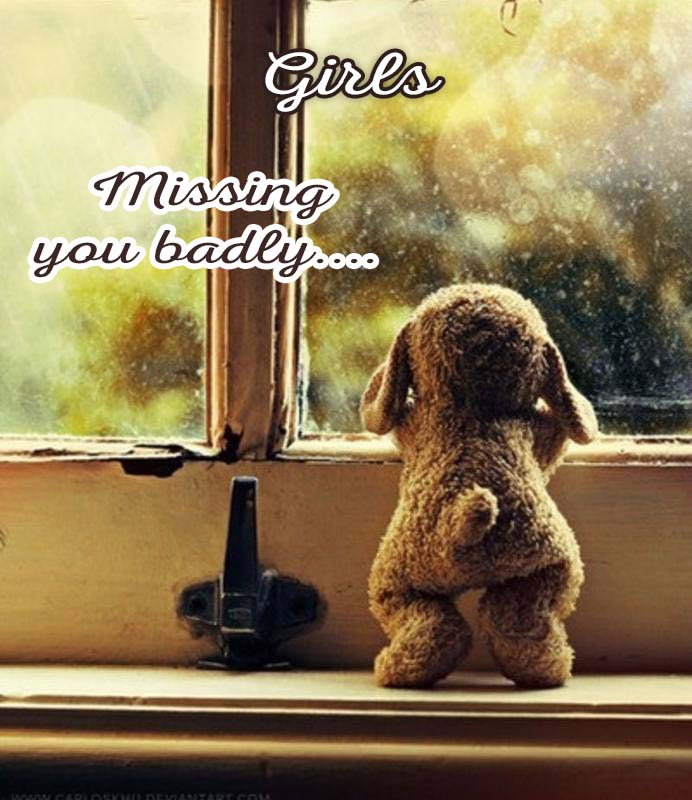 Cards Girls I am missing you every hour, every minute