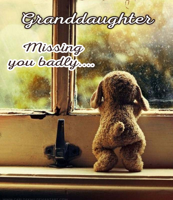 Cards Granddaughter I am missing you every hour, every minute