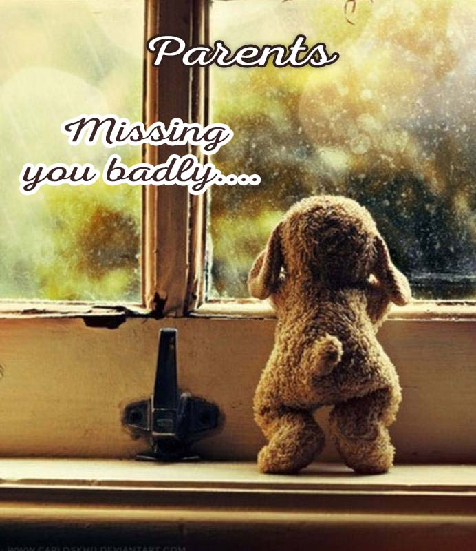 Cards Parents I am missing you every hour, every minute
