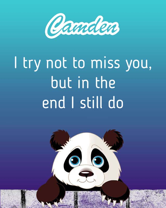 Cards Camden I will miss you every day