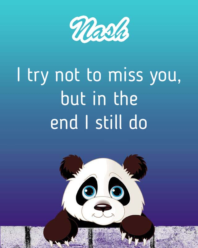 Cards Nash I will miss you every day