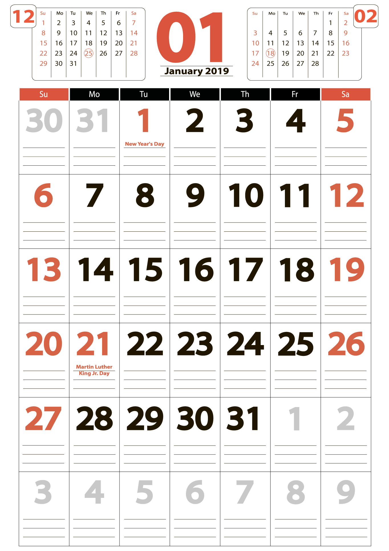 Download calendar 01 2019