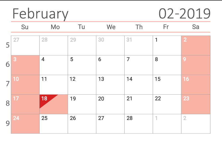 February 2019 calendar with week numbers