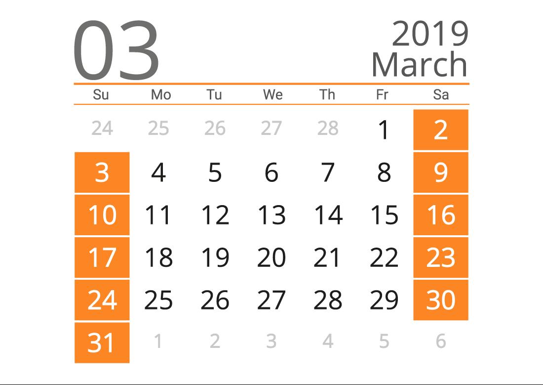 Printable calendar 03 2019