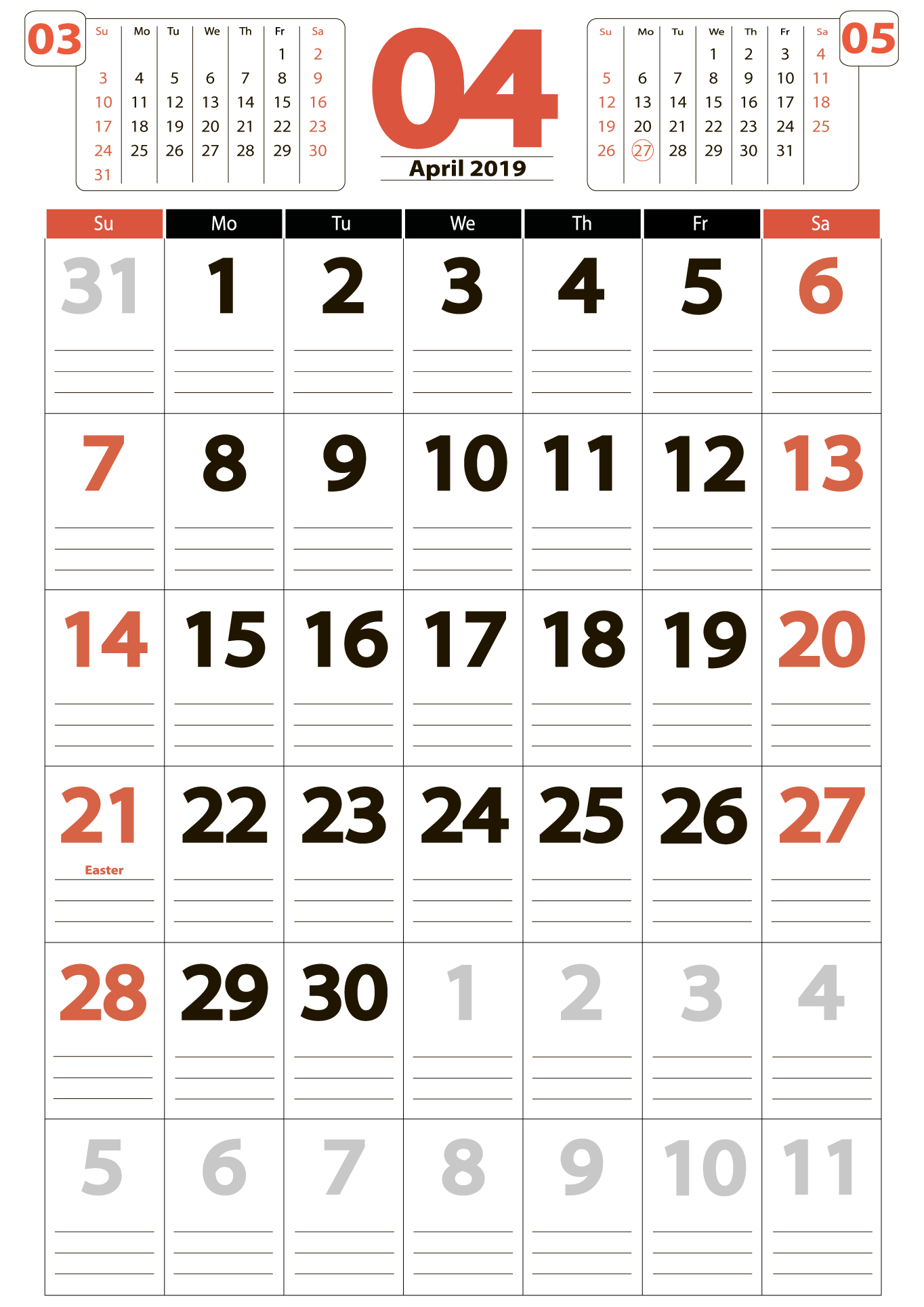 Download calendar 04 2019