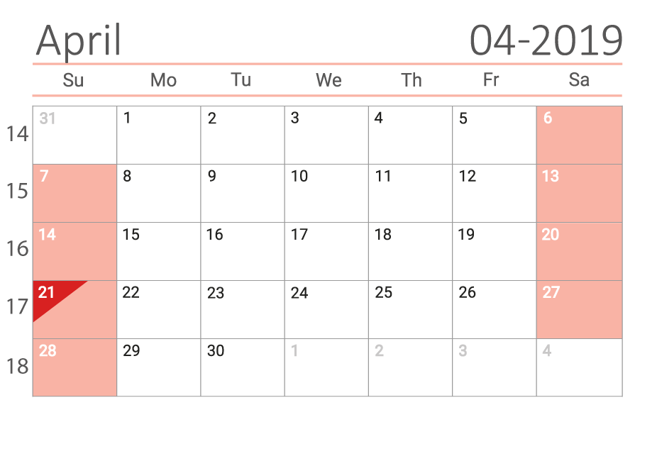 April 2019 calendar with week numbers