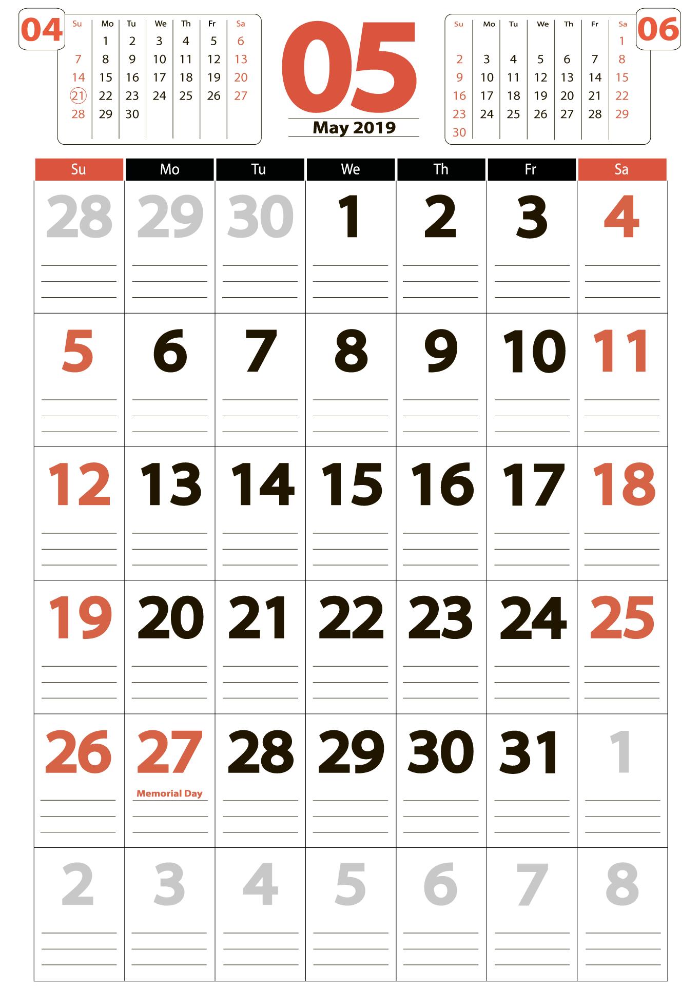 Download calendar 05 2019