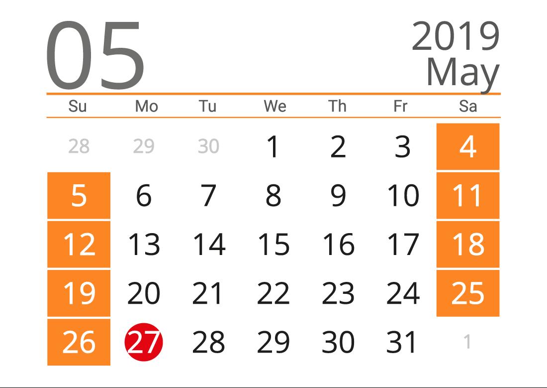 May 2019 calendar landscape