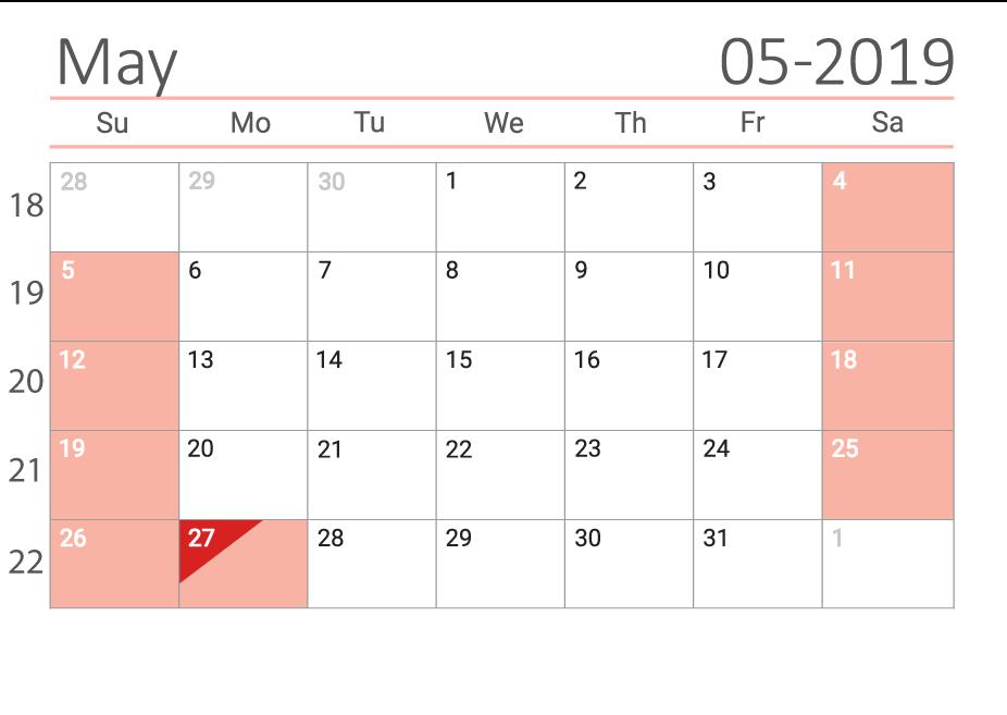 May 2019 Сalendar with week numbers
