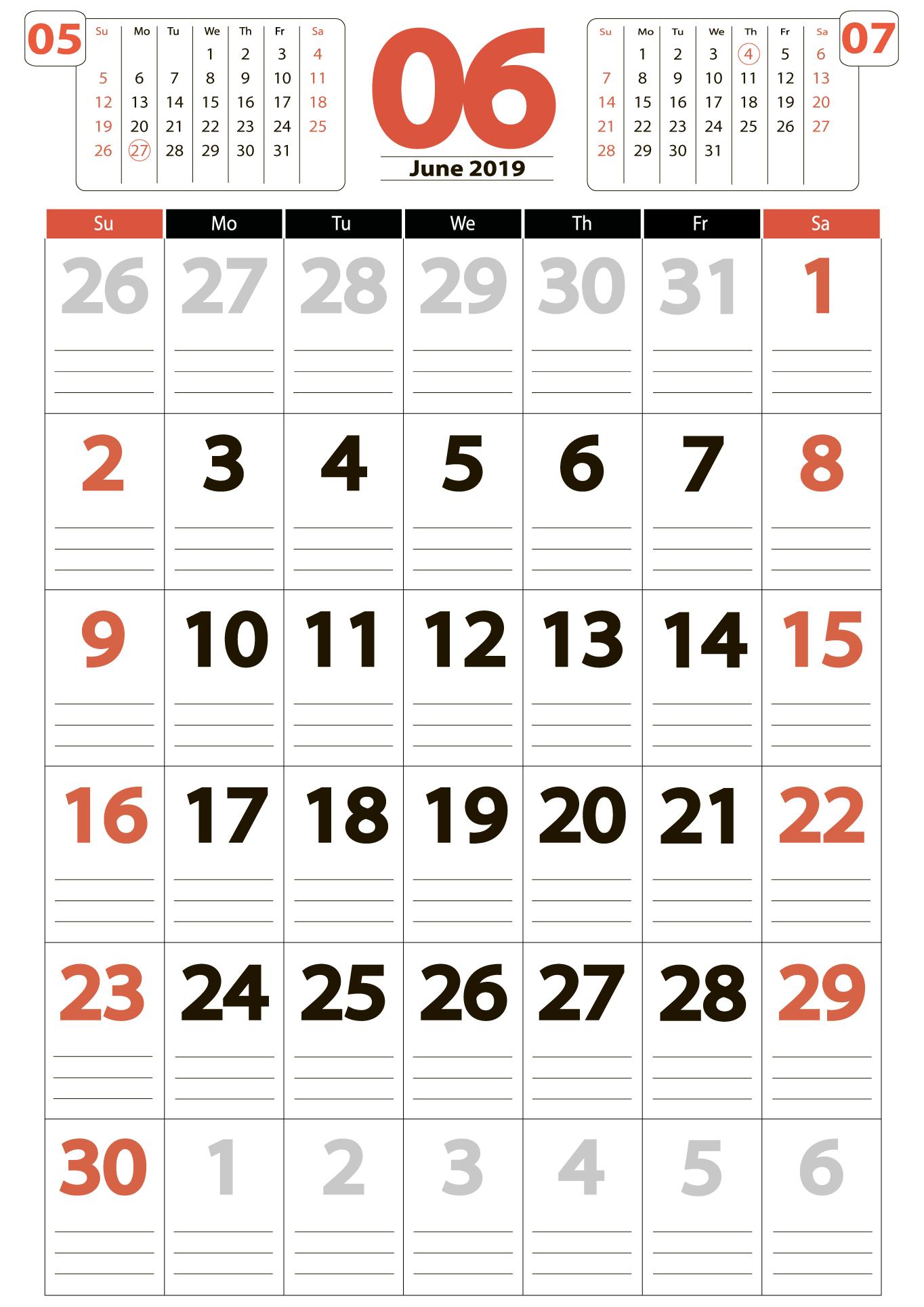 Download calendar 06 2019