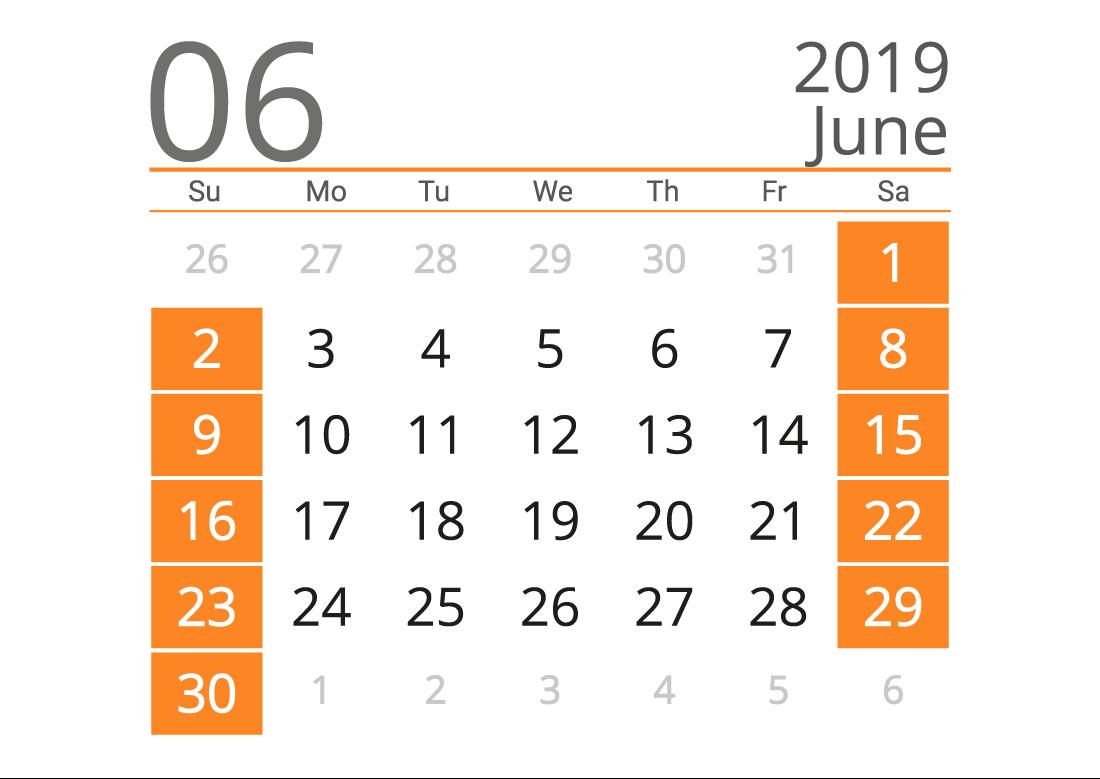 Printable calendar 06 2019