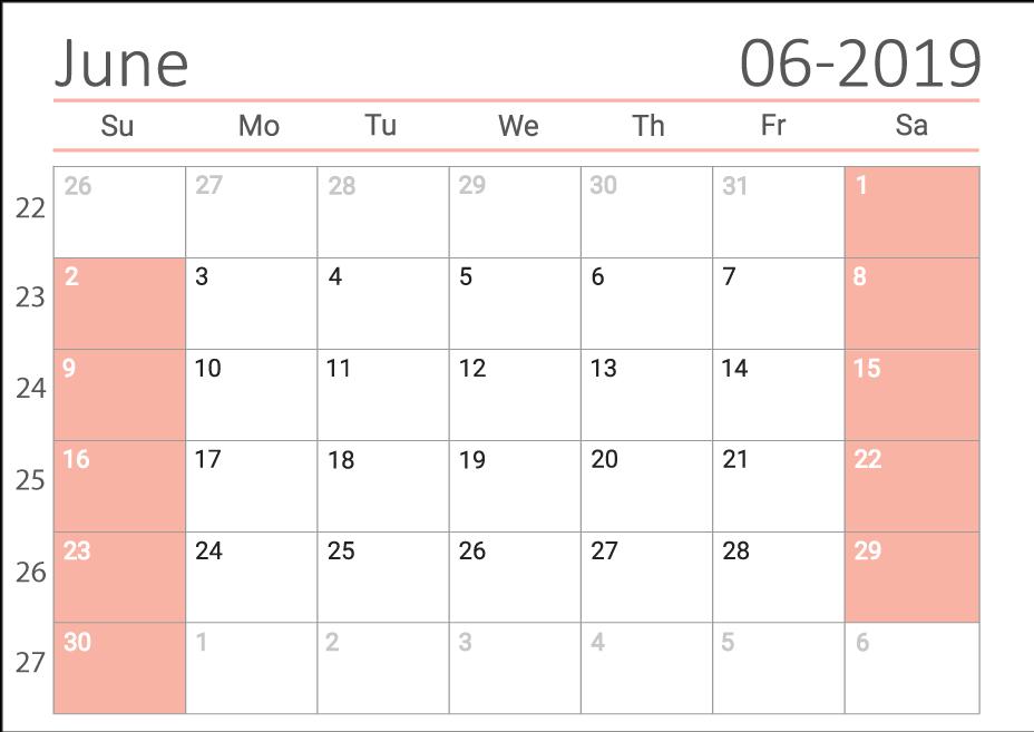 June 2019 Сalendar with week numbers