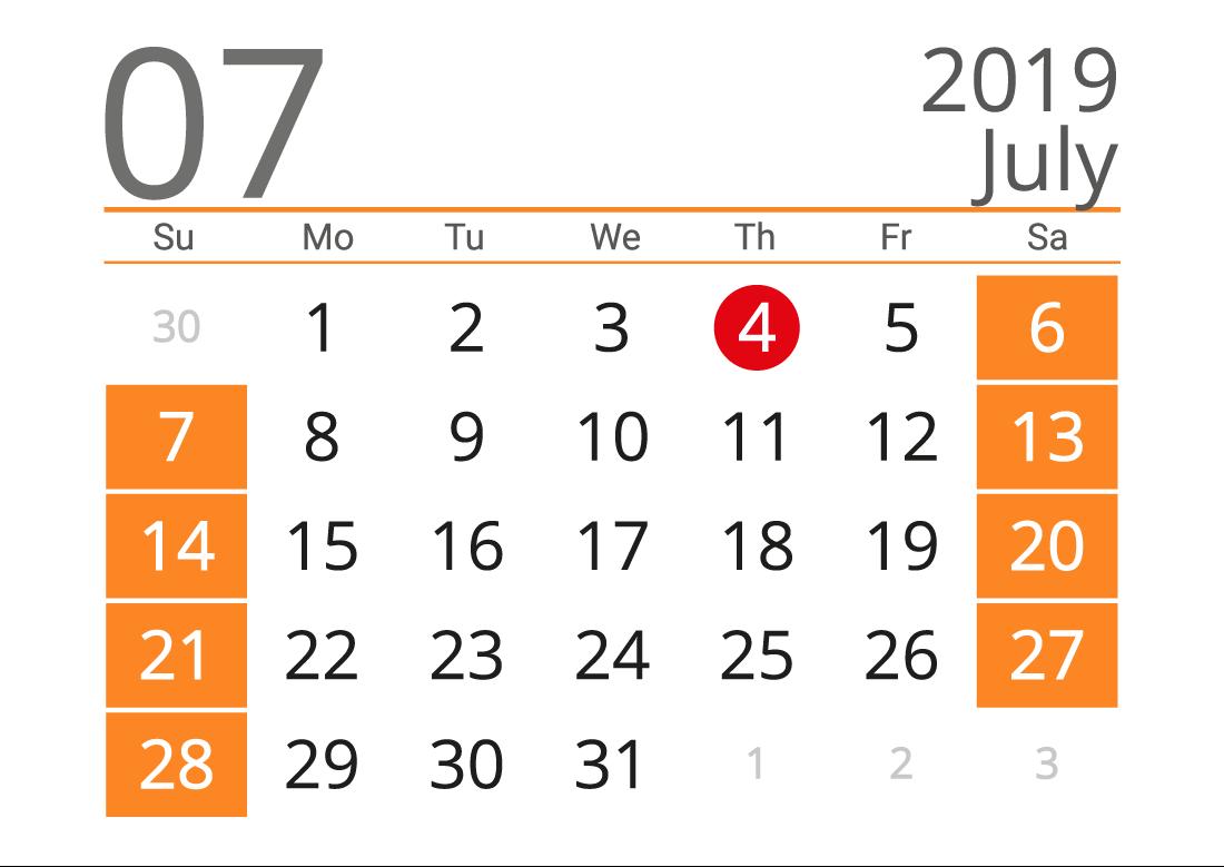 Printable calendar 07 2019