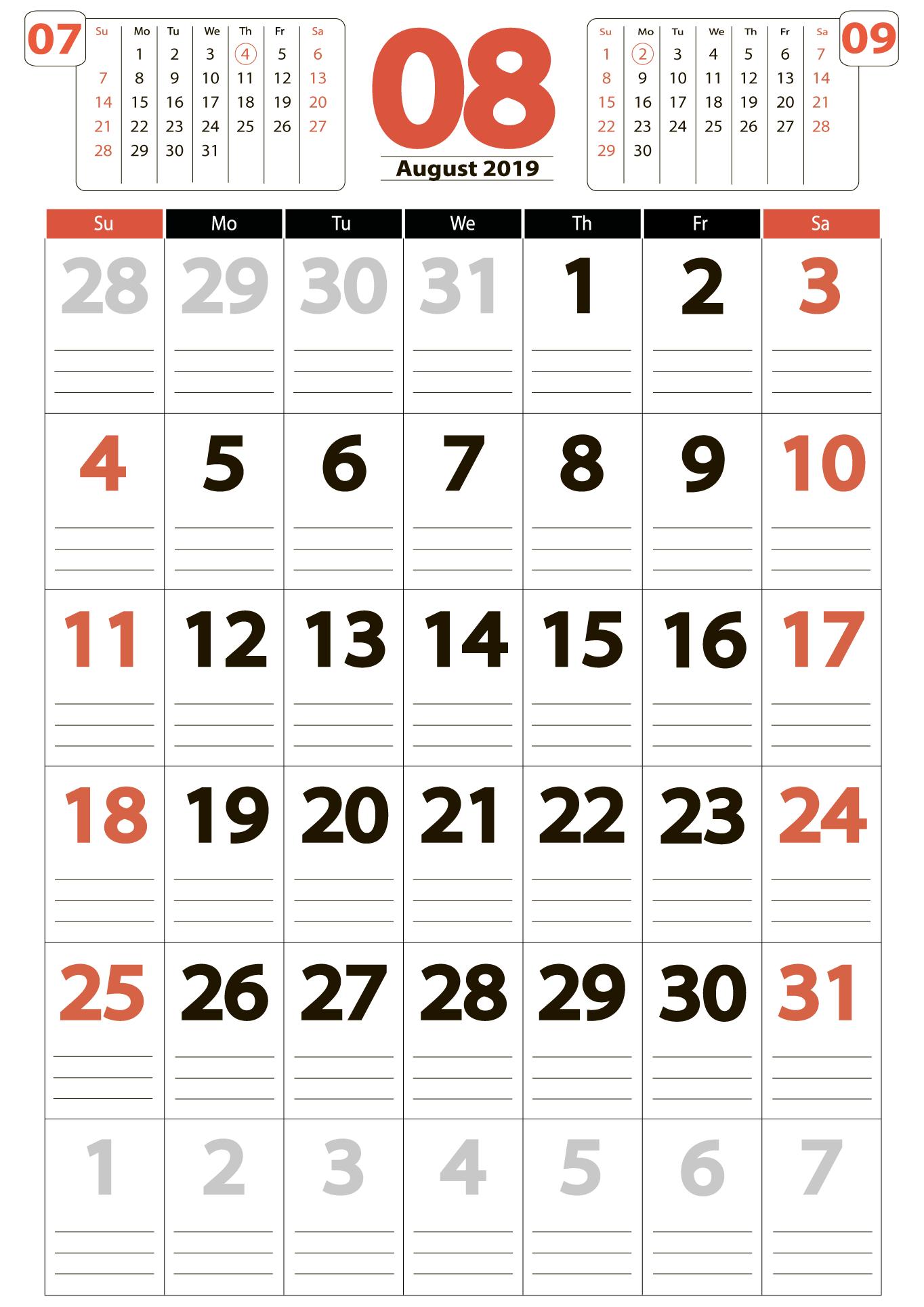 Download calendar 08 2019