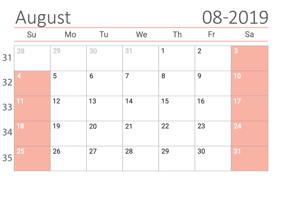 August 2019 calendar with week numbers