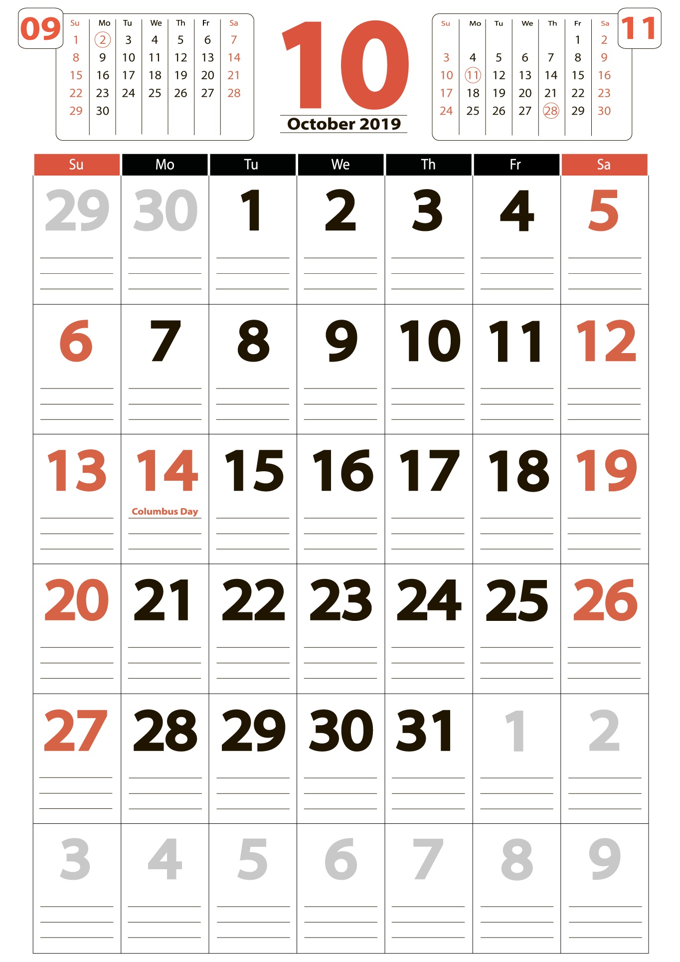 October 2019 Calendar with the US Holidays