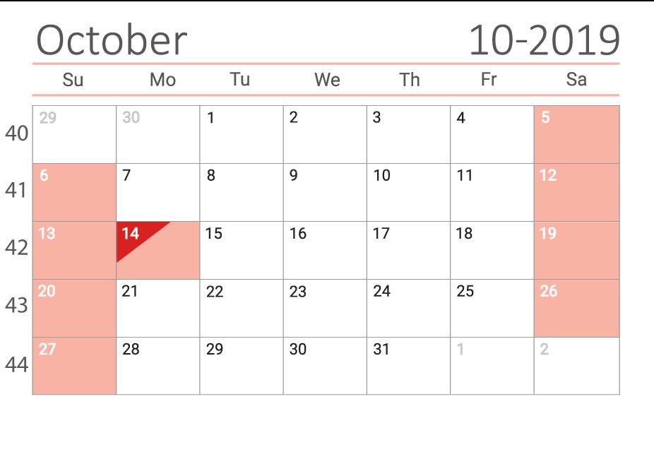 October 2019 calendar with week numbers