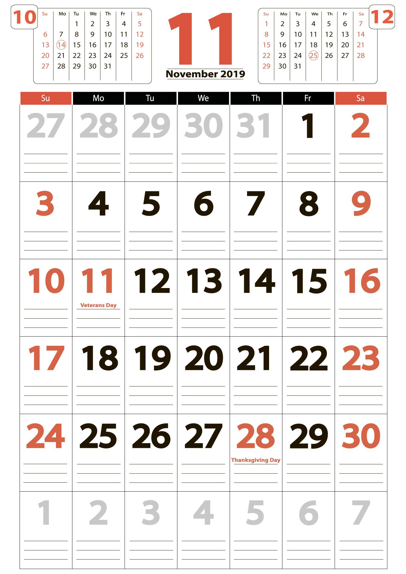 November 2019 big calendar