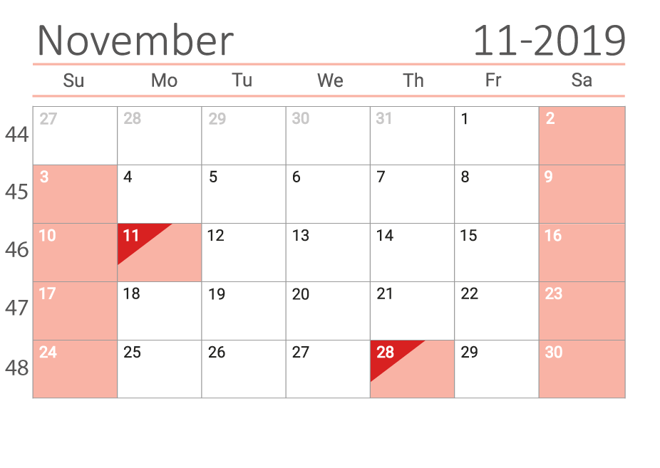 November 2019 Сalendar with week numbers
