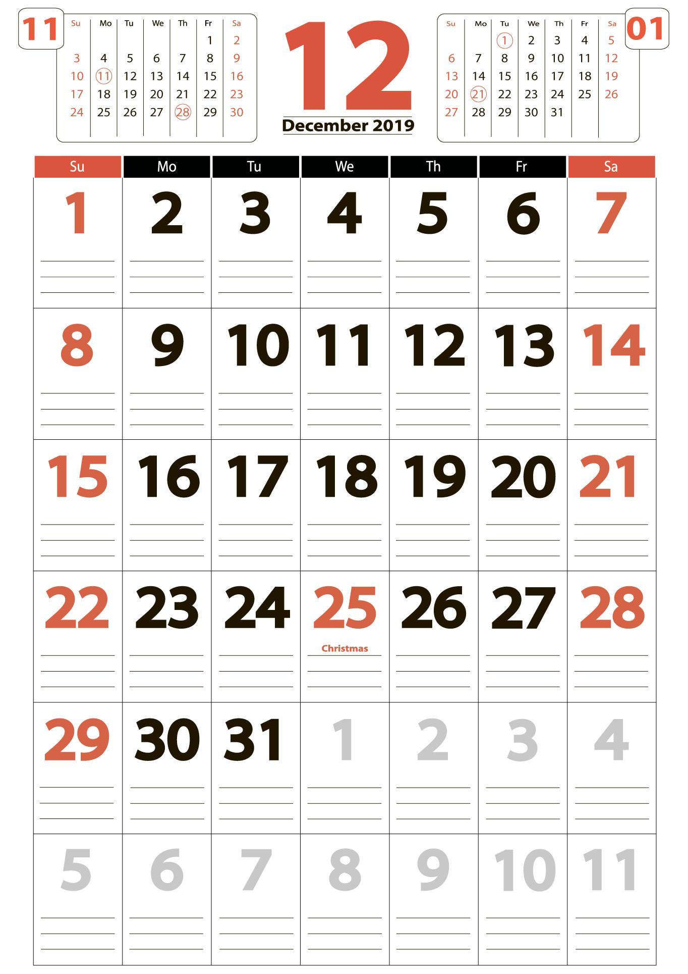 December 2019 big calendar