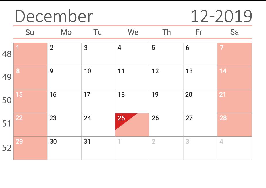 December 2019 Сalendar with week numbers