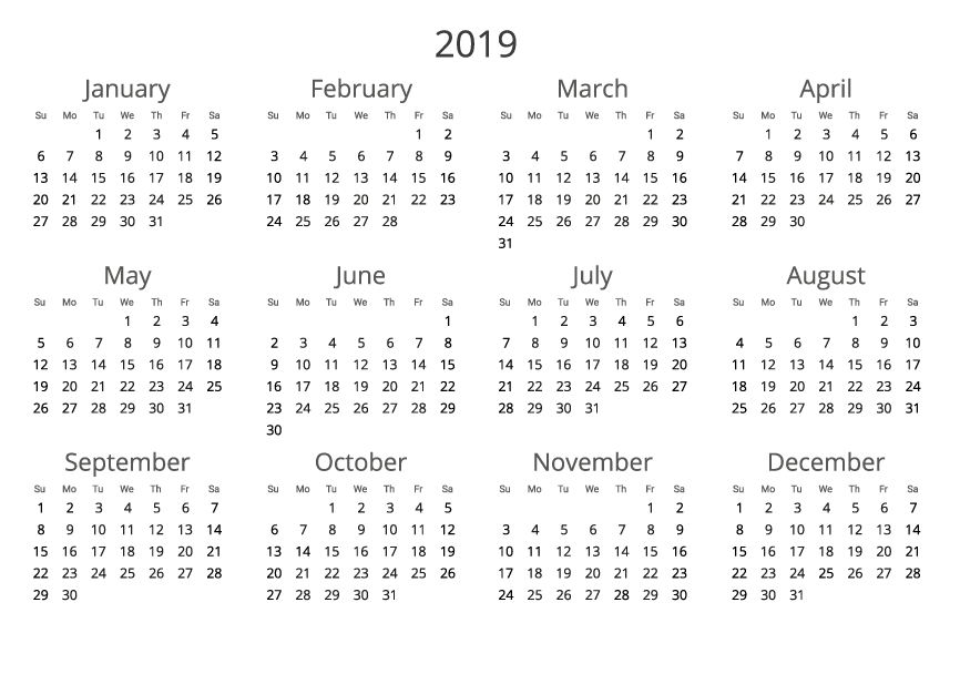 2019 Yearly Calendar Template Word from 365-date.com