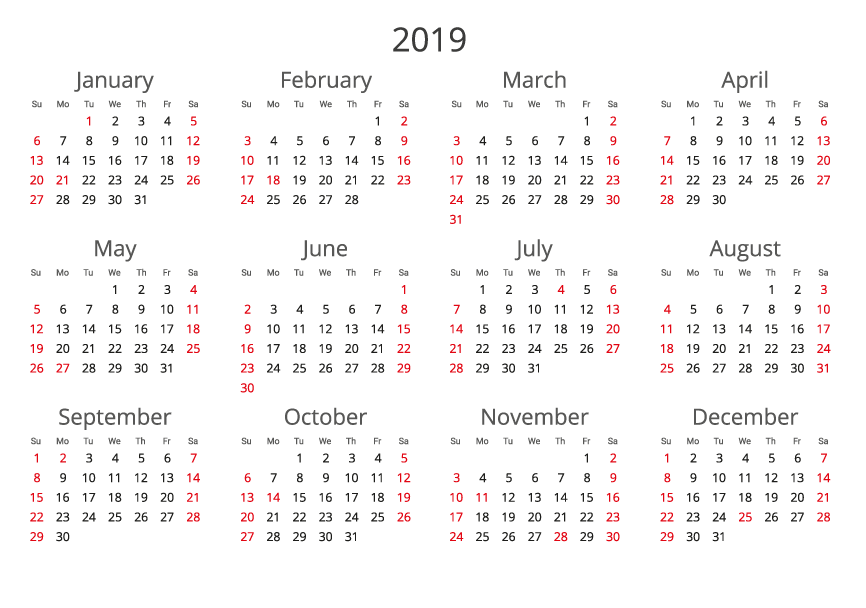 2019 Calendar landscape format