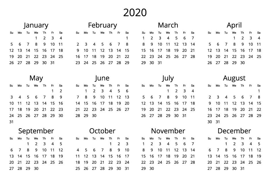 2020 Calendar black and white