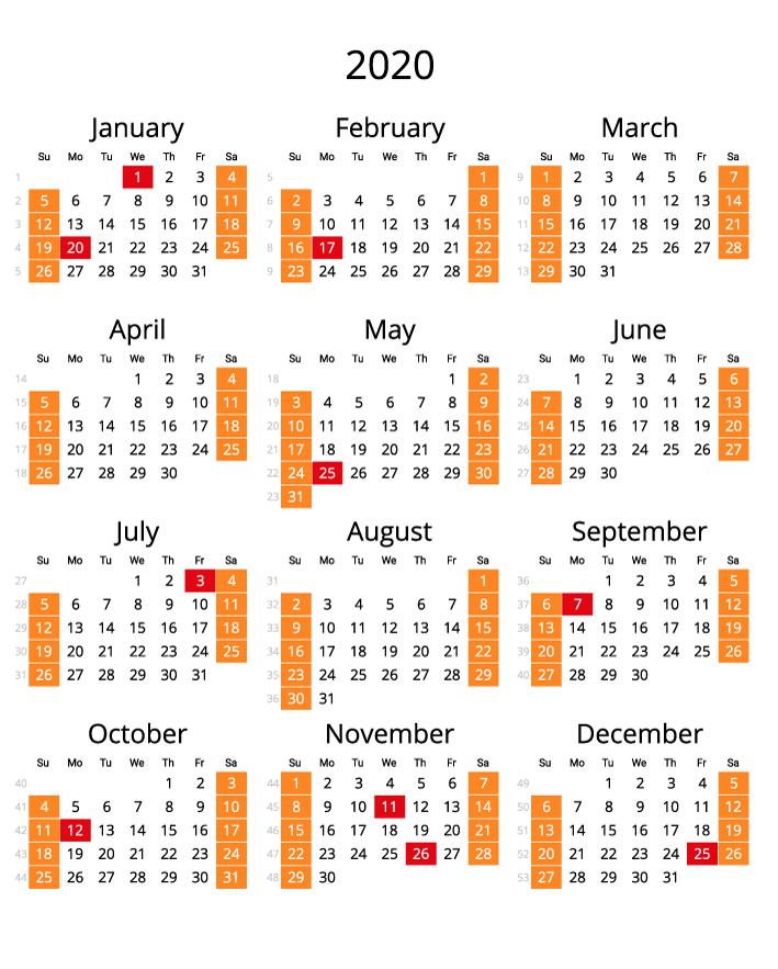 2020 Calendar with numbers of weeks