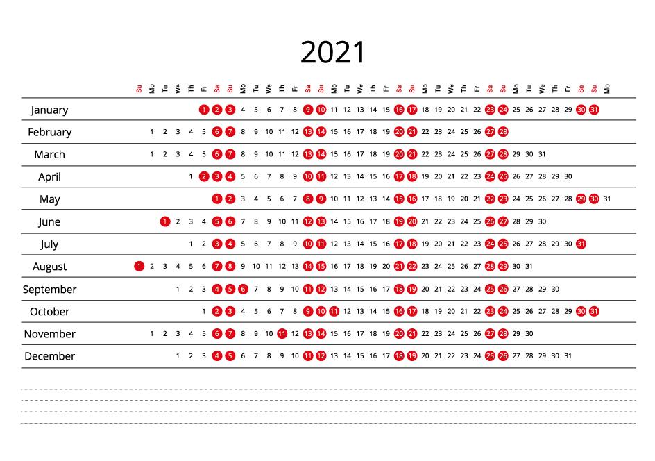 Canada 2021 Calendar line