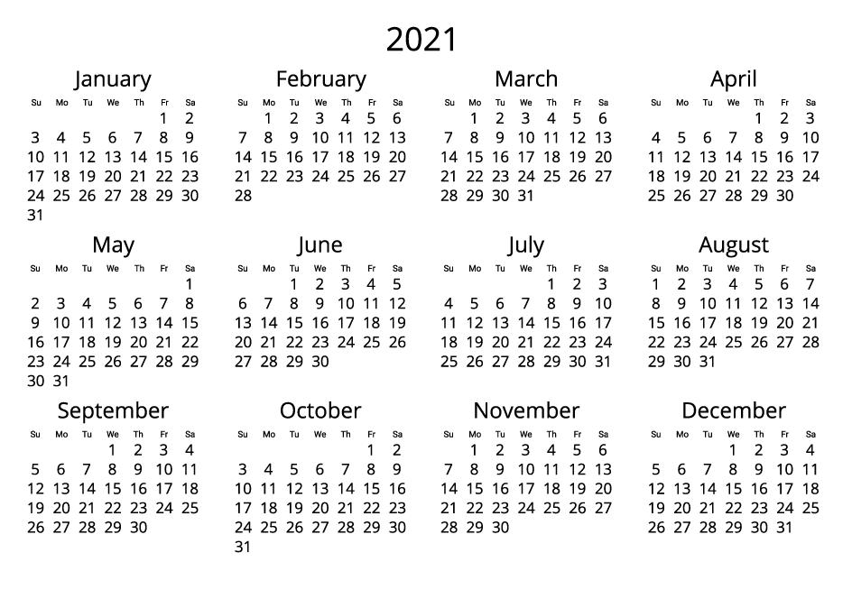 Canada 2021 Calendar black and white