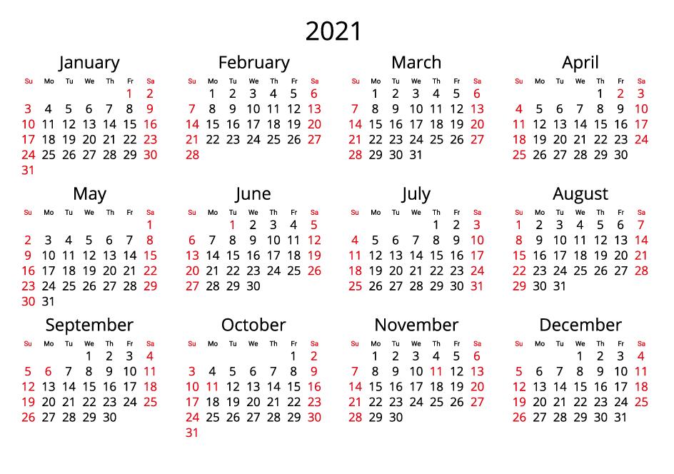 Canada 2021 Calendar landscape format