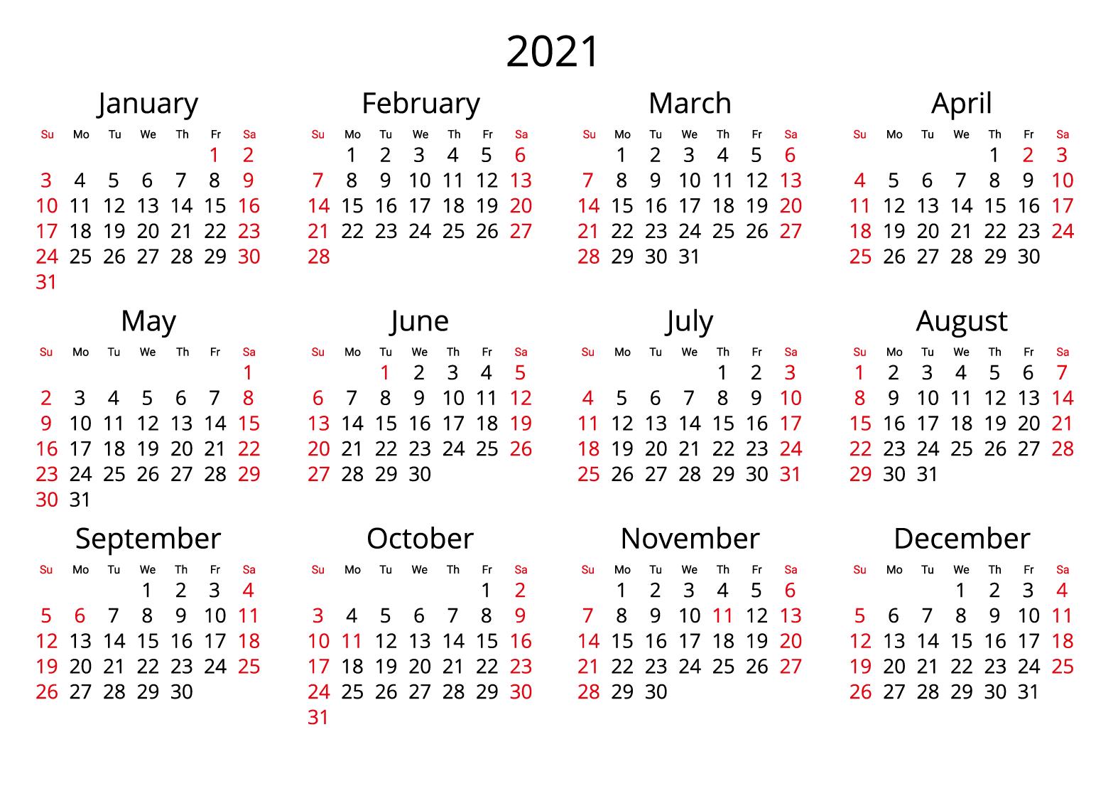 2021 Yearly Canada Calendar JPG format