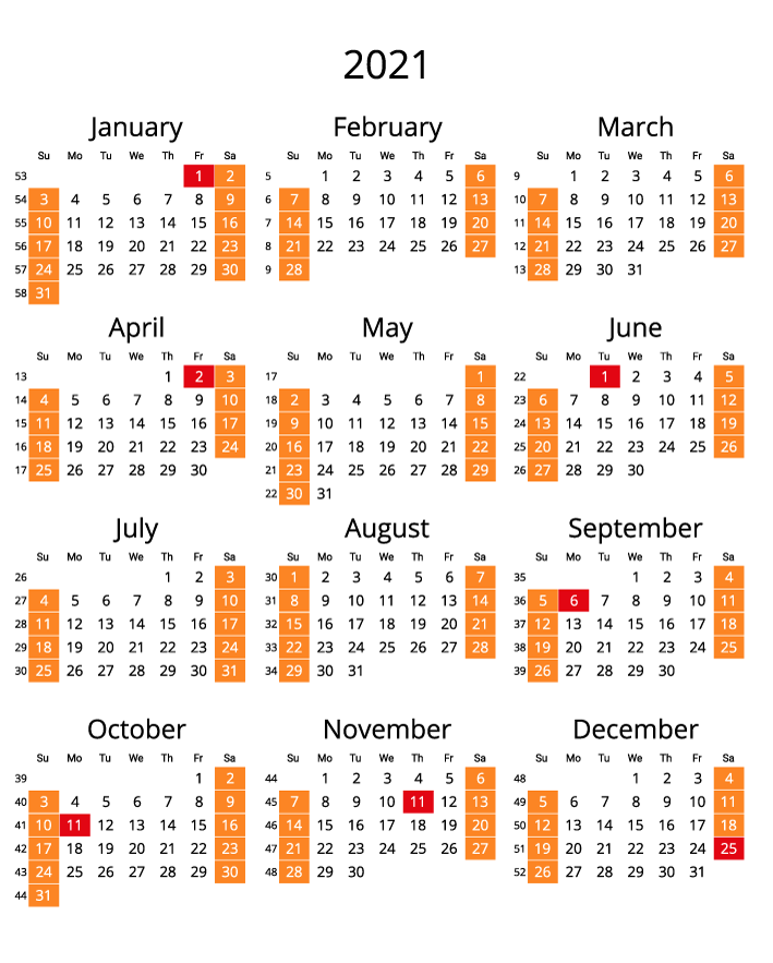Canada 2021 Calendar with numbers of weeks