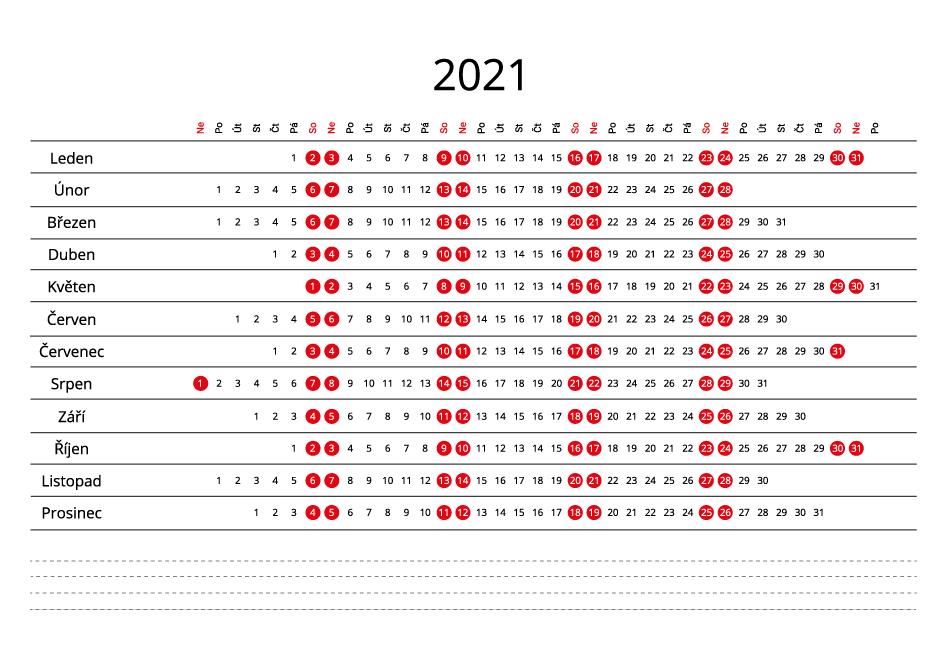Czech 2021 Calendar line