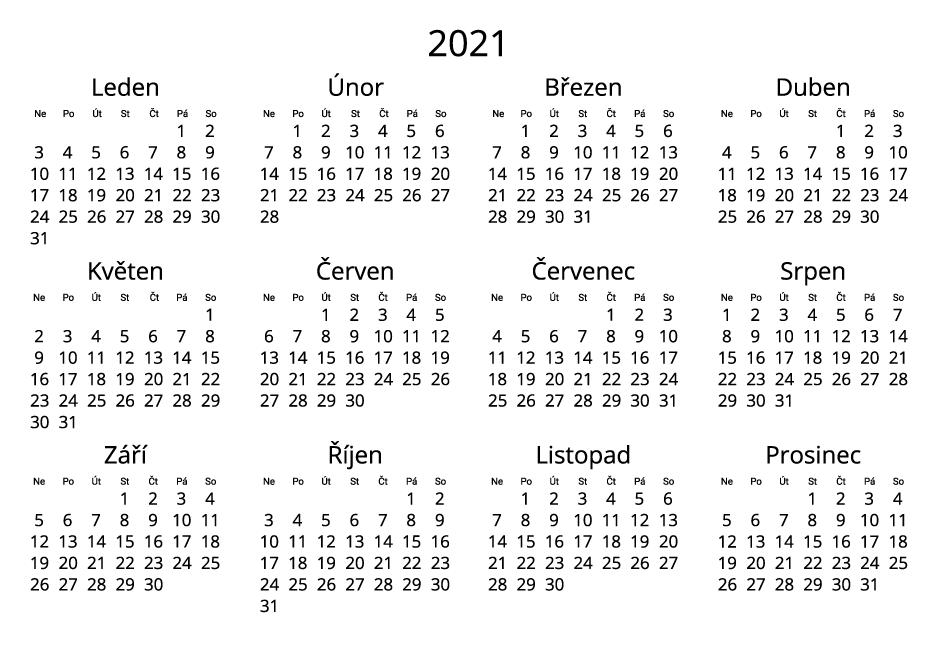 Czech 2021 Calendar black and white