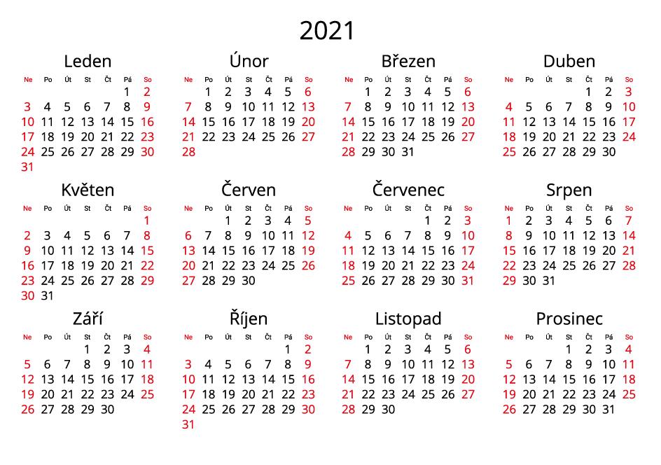 Czech 2021 Calendar landscape format