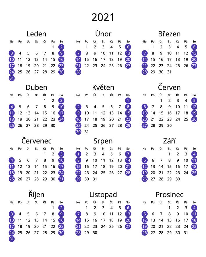 Czech 2021 Calendar portrait format