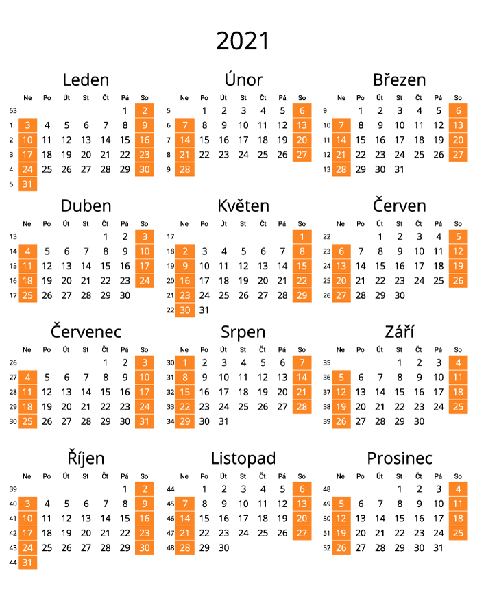 Czech 2021 Calendar with numbers of weeks