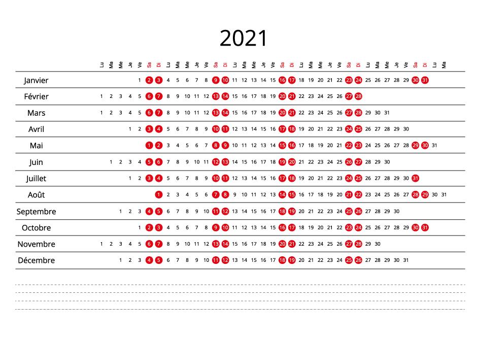 France 2021 Calendar line
