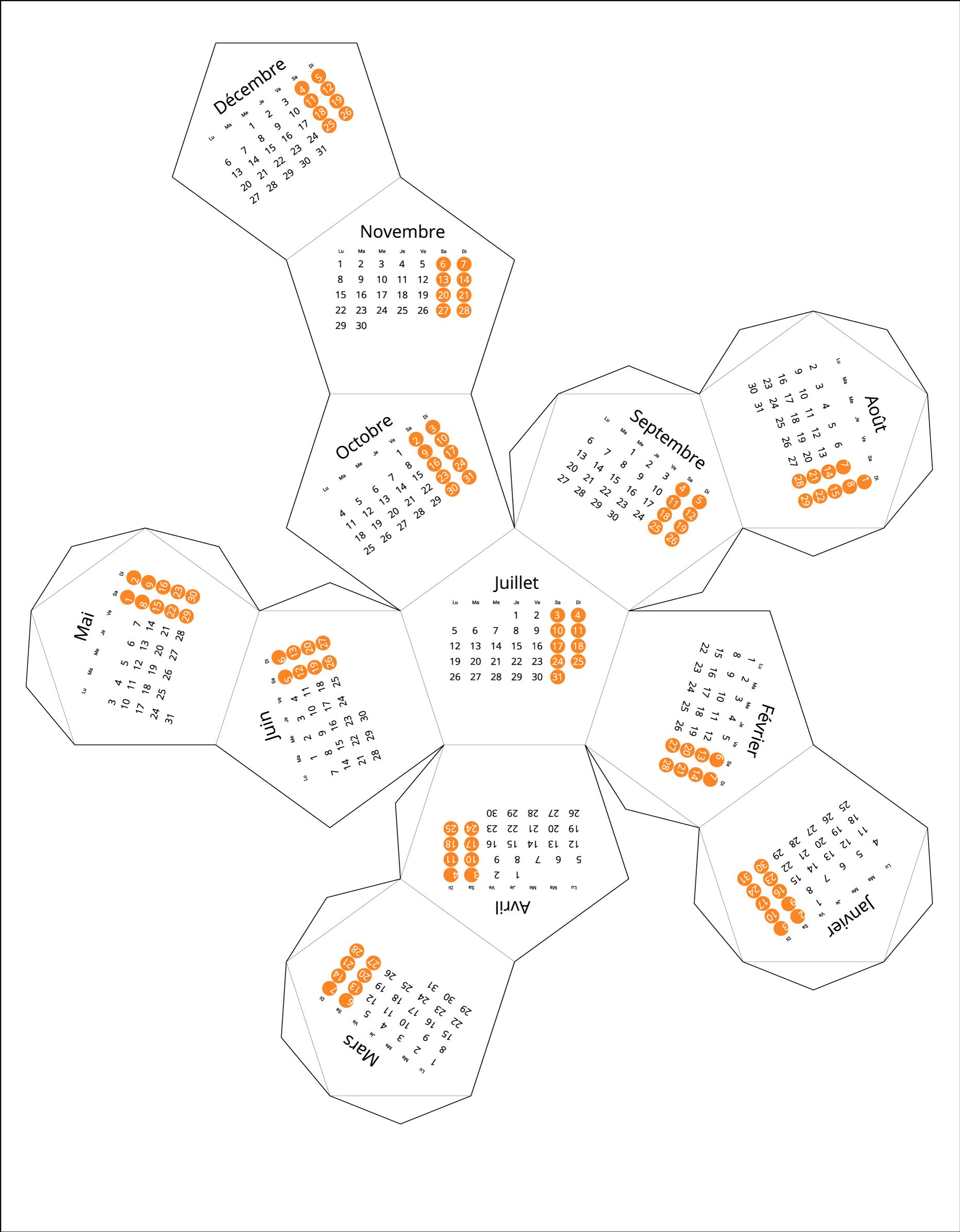 France 2021 Calendar origami