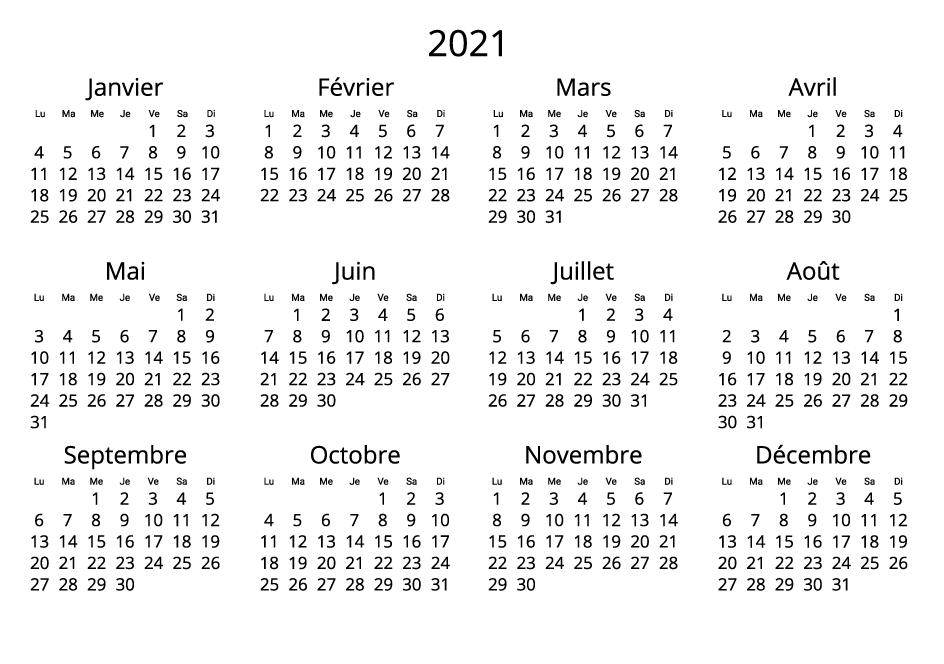 France 2021 Calendar black and white