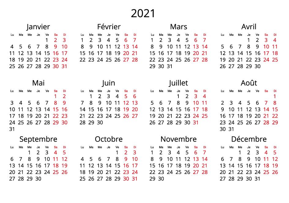 France 2021 Calendar landscape format