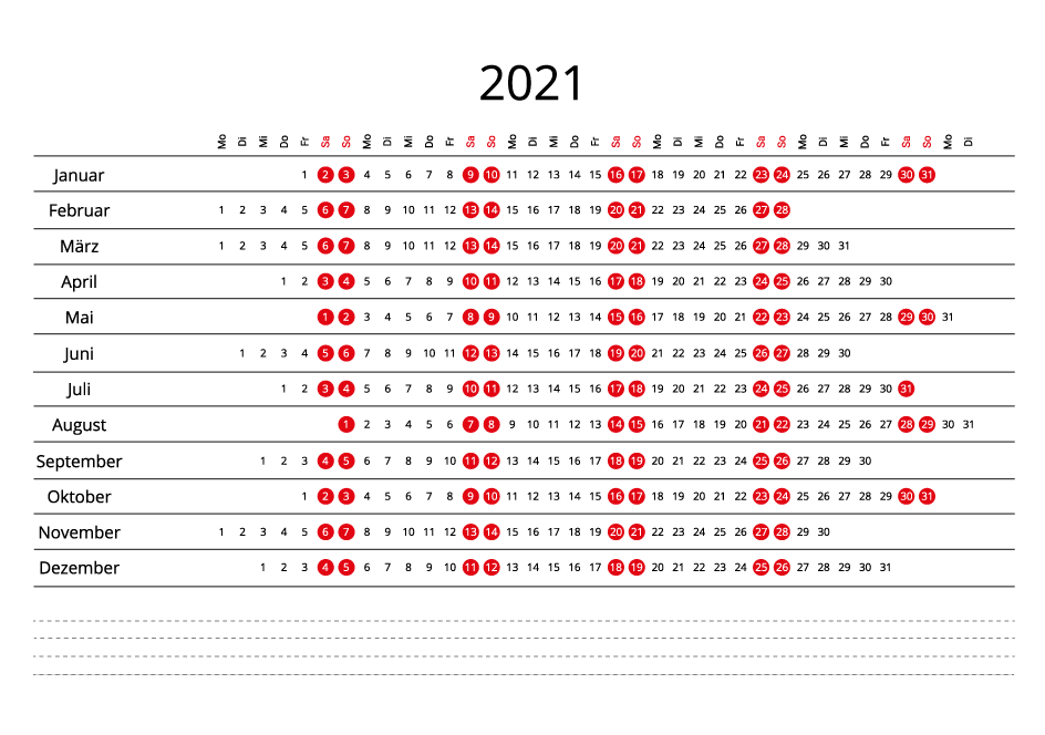 Germany 2021 Calendar line
