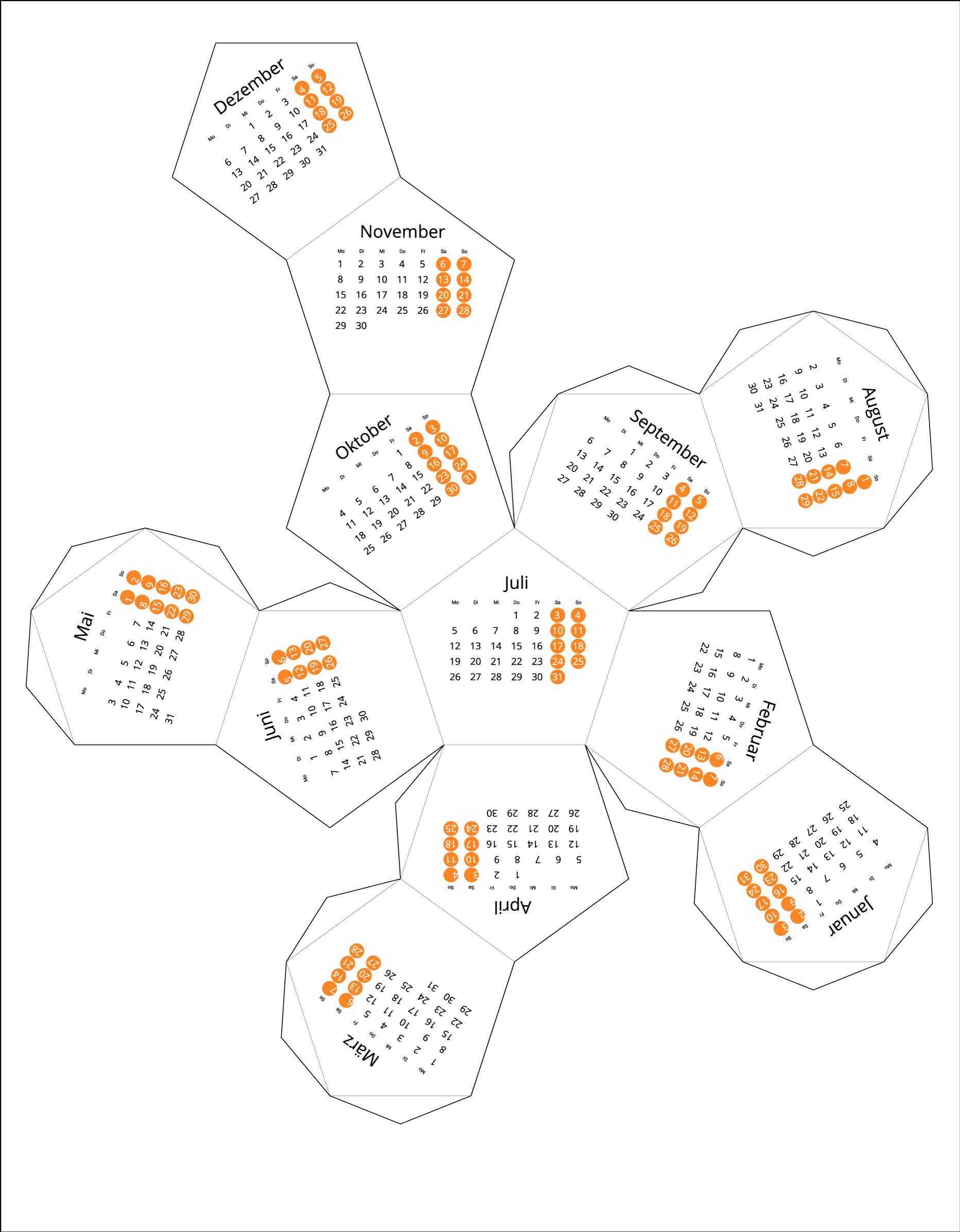 Germany 2021 Calendar origami