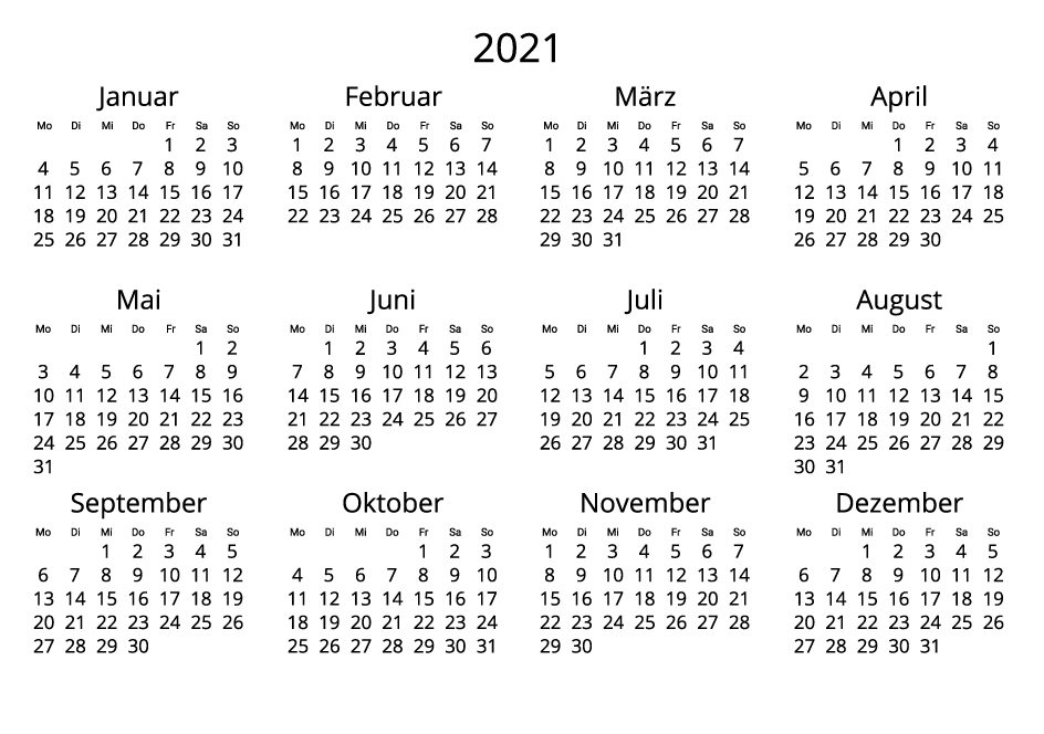 Germany 2021 Calendar black and white