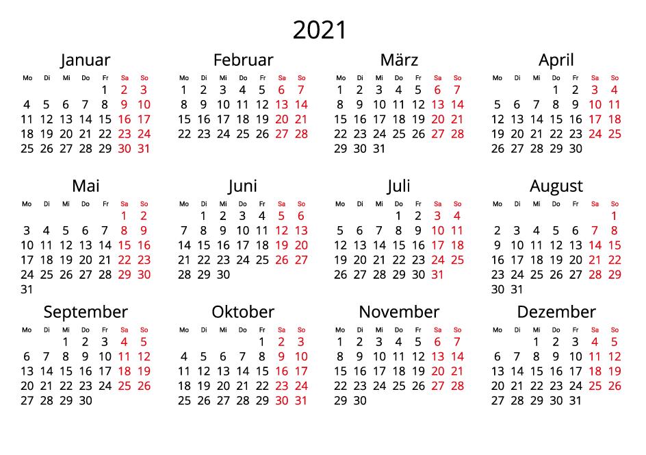 Germany 2021 Calendar landscape format