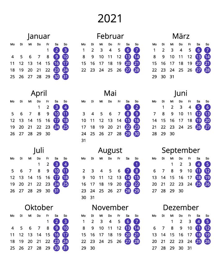 Germany 2021 Calendar portrait format