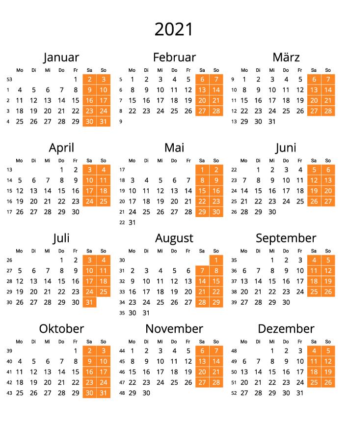 Germany 2021 Calendar with numbers of weeks